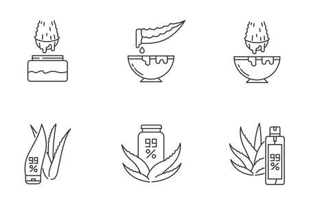 Aloe vera pixel perfect linear icons set. Medicinal herbs juice. Pure lotion. Healing liquid from plants. Customizable thin line contour symbols. Isolated vector outline illustrations. Editable stroke Ilustracja