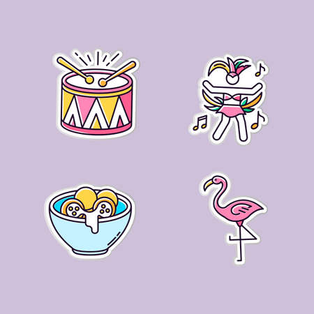 Brazilian carnival printable patches. Traditional music. RGB color stickers, pins and badges set. Arancini. Festive drum parade. National festival. Flamingo. Vector isolated illustrations