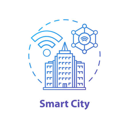 Smart city concept icon. Futuristic tech. 5G technologies idea thin line illustration. Internet of things, networks. Urban modern technology. Vector isolated outline drawing. Editable stroke