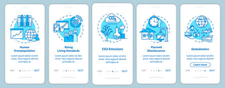 Overconsumption onboarding mobile app page screen with concepts. Globalization, overpopulation. Consumerism walkthrough 5 steps graphic instructions. UI vector template with RGB color illustrations Illusztráció