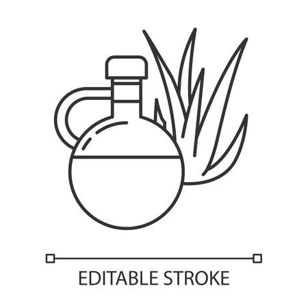 Oil pixel perfect linear icon. Plant based essence for skincare. Aloe vera juice in glass bottle. Thin line customizable illustration. Contour symbol. Vector isolated outline drawing. Editable stroke