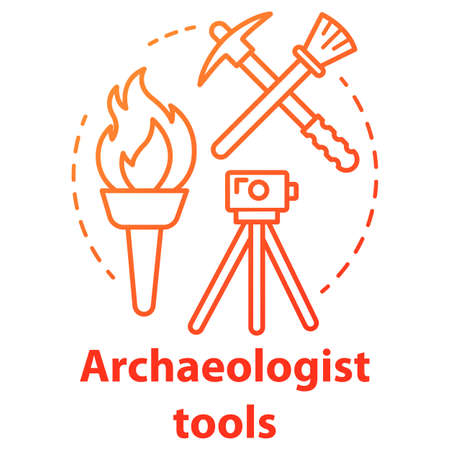 Archaeologist tools concept icon. Archelogy research. Treasure hunter equipment. Torch, pickaxe, brush, level tripod. Vector isolated outline RGB color drawing