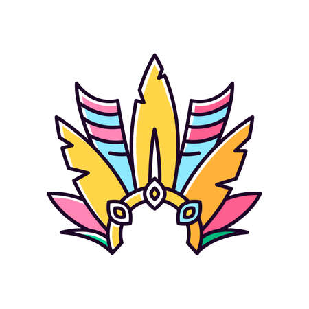 Brazilian carnival headwear orange RGB color icon. Crown with plumage. Mask. Traditional clothing. Ethnic festival. National holiday. Masquerade parade. Isolated vector illustration