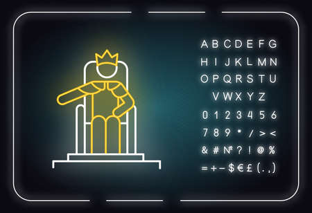 Wise Ruling Solomon Bible story neon light icon. Jerusalem king sitting on throne. Religious legend. Biblical narrative. Glowing sign with alphabet, numbers and symbols. Vector isolated illustration