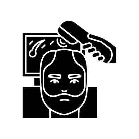 Trichoscopy black glyph icon. Hairloss treatment. Scalp and hair disease diagnosis. Hairloss professional aid. Dermatology evaluation. Silhouette symbol on white space. Vector isolated illustration Ilustracja