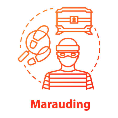 Marauding concept icon. Treasure hunting. Muggery, burglary. Search for treasure. Theft of valuable antiques. Vector isolated outline RGB color drawing