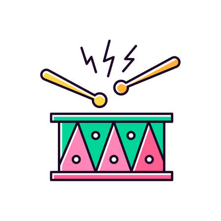 Drum with drumsticks green and pink RGB color icon. Musical instrument. Brazilian carnival. Samba. Festive drum parade. Musical movement. National festival. Isolated vector illustration Ilustracja