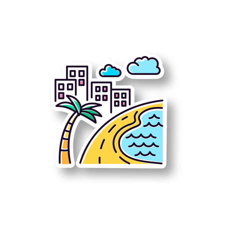 Brazil ocean beach patch. RGB color printable sticker. Skyscrapers and pond. Buildings. Road along coast with palm. San Paulo. Rio de Janeiro. Vector isolated illustration
