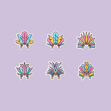 Brazilian carnival hat printable patches. Crown with plumage. RGB color stickers, pins and badges set. Traditional headwear. National holiday. Masquerade parade. Vector isolated illustrations