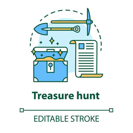 Treasure hunt concept icon. Arheological expedition. Historical research. Search and excavation of ancient antique chest idea thin line illustration. Vector isolated outline drawing. Editable stroke
