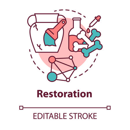 Restoration concept icon. Laboratory analysis archeological artifacts. Prehistoric remains study. History reconstruction idea thin line illustration. Vector isolated outline drawing. Editable stroke Ilustração