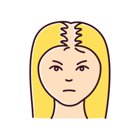 Female hair loss RGB color icon. Woman with alopecia. Hairloss problem. Dermatology and beauty treatment. Thinning hairline. Falling hair. Unhealthy scalp condition. Isolated vector illustration