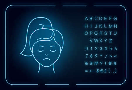 Sadness neon light icon. Unhappy expression. Low mood. Emotionally drained girl. Anxious woman. Loneliness and solitude. Glowing sign with alphabet, numbers and symbols. Vector isolated illustration 일러스트