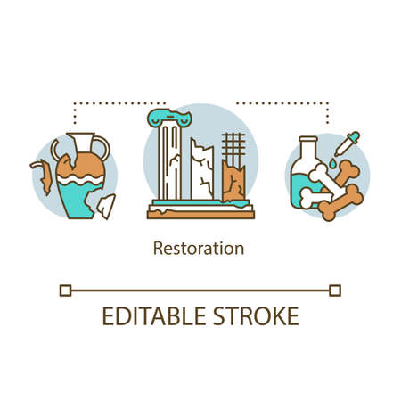 Restoration concept icon. Reconstruction of historical artifacts, buildings. Preservation of monuments of ancient peoples idea thin line illustration. Vector isolated outline drawing. Editable stroke