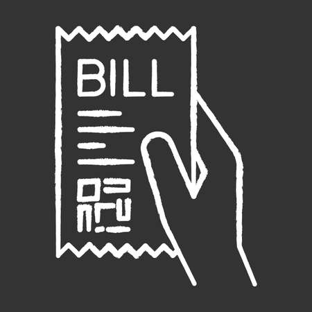 Bill of exchange chalk white icon on black background. Printed cheque. Payment notice. Purchase confirmation. Cashiers receipt, cash-memo. Purchased items list. Isolated vector chalkboard illustration