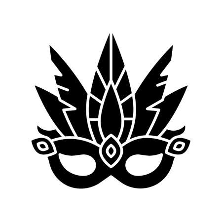 Masquerade mask black glyph icon. Traditional headwear with plumage. Ethnic festival parade. National holiday. Silhouette symbol on white space. Vector isolated illustration Ilustracja