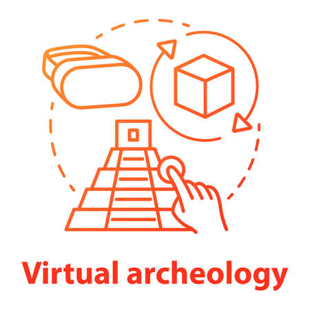 Virtual archeology concept icon. Computer simulations of cultural sights. Modeling and visualization of historic monuments. Vector isolated outline RGB color drawing