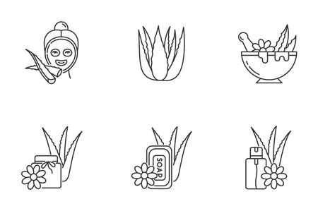 Aloe vera pixel perfect linear icons set. Facial moisturizing mask. Natural spa treatment. Customizable thin line contour symbols. Isolated vector outline illustrations. Editable stroke Ilustracja