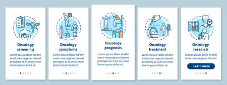 Oncology onboarding mobile app page screen with concepts. Illness treatment walkthrough five steps graphic instructions. Cancer symptoms and prognosis. UI vector template with RGB color illustrations