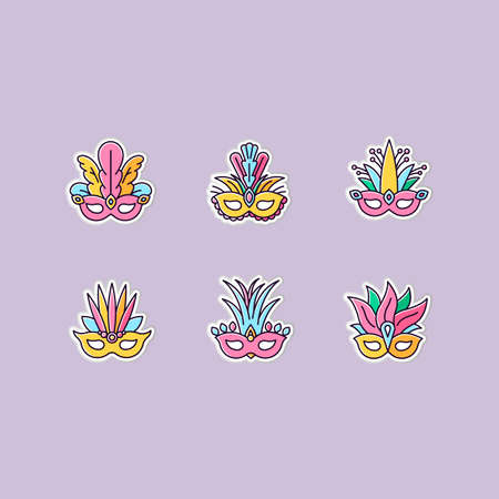 Masquerade masks printable patches. Traditional headwear with plumage. RGB color stickers, pins and badges set. Ethnic festival. Brazilian national holiday. Vector isolated illustrations Ilustracja