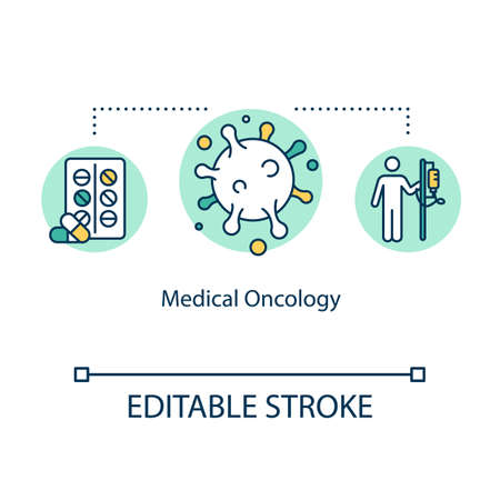 Medical oncology concept icon. Cancer treatment idea thin line illustration. Chemotherapy. Targeted therapy. Immunotherapy. Vector isolated outline RGB color drawing. Editable stroke Illustration
