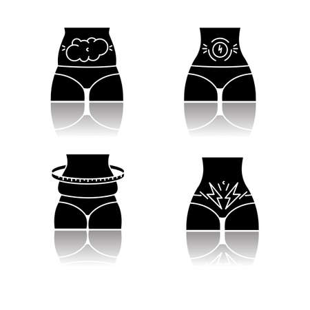 Abdominal pain drop shadow black glyph icons set. Bloating and flatulence. Female weight gain. Stomach ache. Predmenstrual syndrome. Period symptom. Illness and sickness. Isolated vector illustrations