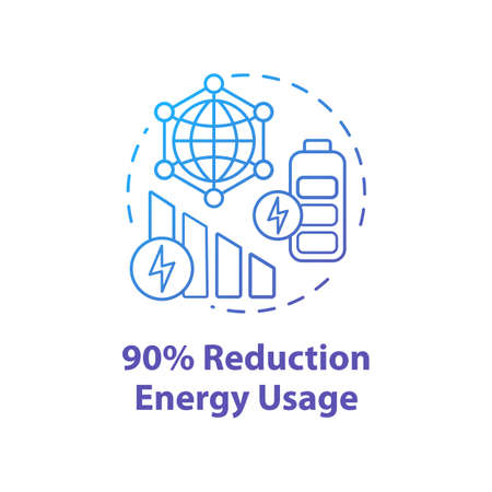 90 percent reduction energy usage concept icon. Mobile internet. 5G technology idea thin line illustration. High-speed connection. Wireless technology. Vector isolated outline drawing. Editable stroke Ilustracja