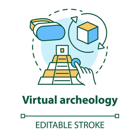 Virtual archeology concept icon. Computer simulations of cultural sights. Modeling and visualization of historic monuments idea thin line illustration. Vector isolated outline drawing. Editable stroke Ilustrace