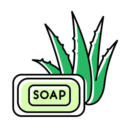 Aloe vera soap green color icon. Organic bathing product. Natural cosmetic for personal hygiene. Plant based product. Dermatology and skincare. Cleansing treatment. Isolated vector illustration