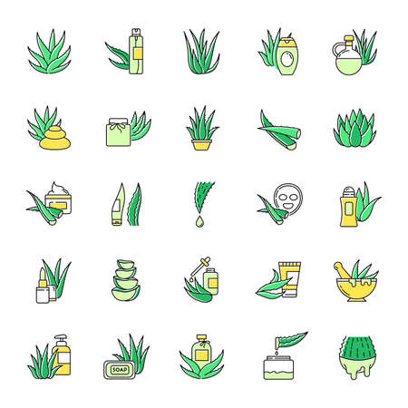 Aloe vera green color icons set. Natural cosmetic and dermatology. Medicinal herbs. Succulent, cactus. Healthy skincare products. Moisturizing cream and facial mask. Isolated vector illustrations