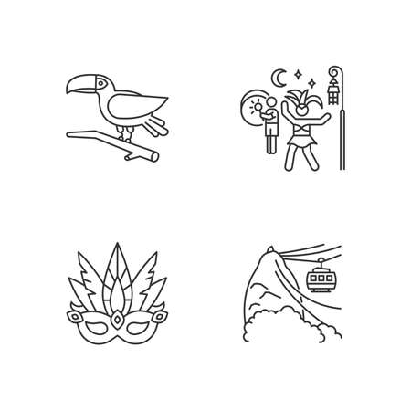 Masquerade masks pixel perfect linear icons set. Traditional headwear with plumage. Ethnic festival. Customizable thin line contour symbols. Isolated vector outline illustrations. Editable stroke Ilustracja