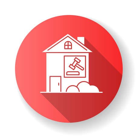 Real estate lawsuit red flat design long shadow glyph icon. Tenancy legal dispute. Property litigation, court case. Realty trial. Lease agreement matter. Silhouette RGB color illustration Ilustracja