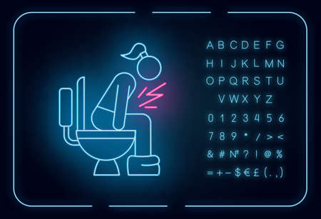 Diarrhea neon light icon. Digestive tract disease. Illness and sickness. Food poisoning. Menstruation problem. Glowing sign with alphabet, numbers and symbols. Vector isolated illustration