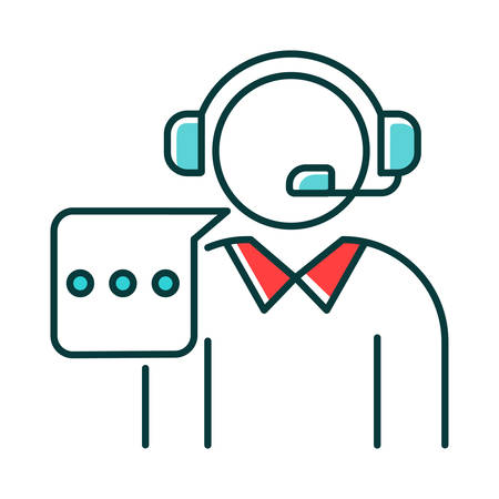 Customer support RGB color icon. Call, contact center. Telephone consultant. Phone operator. Online technical service. Helpline manager. Consultation. Isolated vector illustration