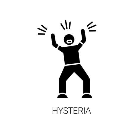 Hysteria glyph icon. Stress, anxiety. Person screaming. Man shouting and yelling. Rage and frustration. Irritability. Mental disorder. Silhouette symbol. Negative space. Vector isolated illustration