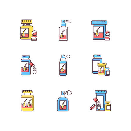 Hair loss RGB color icons set. Medicament for alopecia. Vitamin supplements to help hair thinning. Medical pills, spray for baldness. Pharmaceutical treatment. Isolated vector illustrations Ilustracja