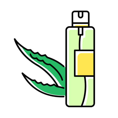 Hair spray green color icon. Organic cosmetic product. Skincare lotion. Natural oil with medicinal herbs. Plant based essence in aerosol. Facial treatment. Isolated vector illustration Ilustracja