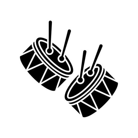 Drums with drumsticks black glyph icon. Musical instrument. Brazilian carnival. Festive parade. Musical movement. National holiday. Silhouette symbol on white space. Vector isolated illustration