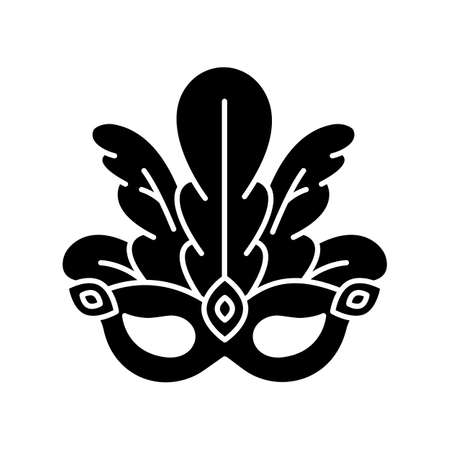Masquerade mask black glyph icon. Brazilian traditional headwear with plumage. Ethnic festival. National holiday parade. Silhouette symbol on white space. Vector isolated illustration