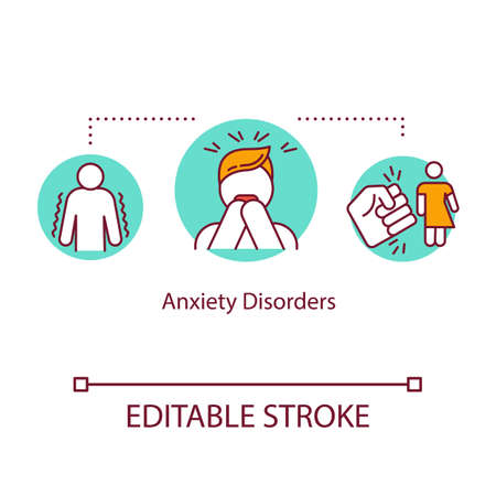 Anxiety disorders concept icon. Mental illness idea thin line illustration. Phobias. Stress management. Obsessive compulsive disorder. Vector isolated outline RGB color drawing. Editable stroke 일러스트