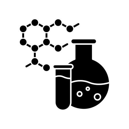 Chemistry black glyph icon. Science and medicine research. Biochemistry and pharmacology. Chemical liquid in flask. Protein molecules. Silhouette symbol on white space. Vector isolated illustration Ilustracja