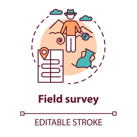 Field survey concept icon. Treasure hunting. Archeological expedition. Relic search. Start historical study idea thin line illustration. Vector isolated outline drawing. Editable stroke