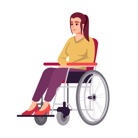 Woman in wheelchair semi flat RGB color vector illustration. Handicapped girl. Disabled person. Recovery period. Rehabilitation. Psychology consultation. Isolated cartoon character on white background