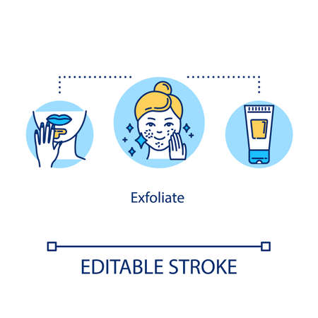 Exfoliate concept icon. Facial procedure. Moisturizing product. Dermatology and hygiene. Skincare idea thin line illustration. Vector isolated outline RGB color drawing. Editable stroke