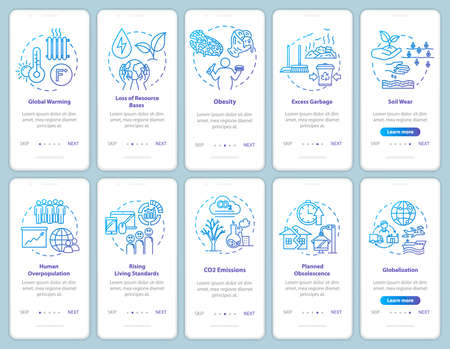 Overconsumption onboarding mobile app page screen with concepts. Environmental damage. Consumerism walkthrough 5 steps graphic instructions. UI vector template with RGB color illustrations Illusztráció