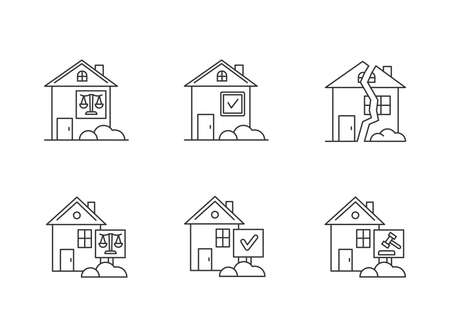 Real estate matters pixel perfect linear icons set. Tenancy legal dispute. Property litigation, trial. Customizable thin line contour symbols. Isolated vector outline illustrations. Editable stroke  イラスト・ベクター素材