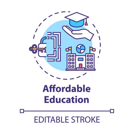 Affordable education concept icon. Student loan. Cheap university. Scholarship, mortrage. Accessible learning idea thin line illustration. Vector isolated outline RGB color drawing. Editable stroke