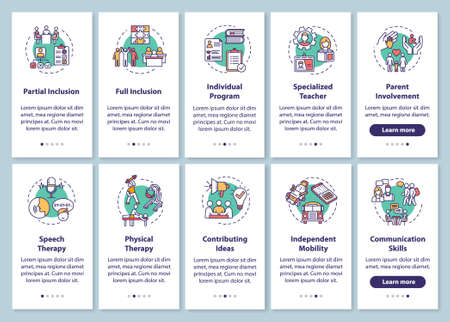 Inclusive program onboarding mobile app page screen with concepts set. Therapy and education for disabled people walkthrough steps graphic instructions. UI vector template with RGB color illustrations Vetores
