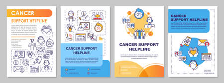 Cancer Support Helpline brochure template. Call center. Flyer, booklet, leaflet print, cover design with linear icons. Oncology help. Vector layouts for magazines, annual reports, advertising posters