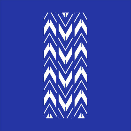 Track tread RGB white icon. Detailed automobile, motorcycle tyre marks. Car wheel trace with thick grooves. Vehicle zigzag-shaped tire trail. Isolated vector illustration on blue background